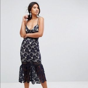 Missguided Navy Lace Dress